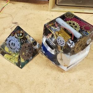 Handcrafted Steampunk Paper Weights Pyramid & Cube